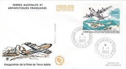 TAAF PREMIER JOUR 1993 PA128 Inauguration De La Piste 01-01-1993 Terre Adélie - FDC