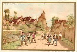 - Chromos-ref-chA234- Au Bon Marché - Paris / - Enfants à La Sortie D Un Village - Lith Miot & Cie - - Au Bon Marché
