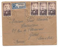 LETTRE DE . PRETORIA..RECOMMANDEE.1956...  POUR YERRES. FRANCE..TBE ..N°  216 X4..TBE... SCAN - Afrique Du Sud (1961-...)