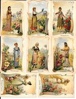 Belle Série ART NOUVEAU -8 CHROMOS Didactiques - JEUNES FEMMES & FLEURS DE CHAQUE PAYS -Roses De France-Iris Allemagne.. - Trade Cards
