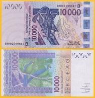 West African States 10000 (10,000) Francs Benin (B) P-218B 2018 UNC Banknote - États D'Afrique De L'Ouest