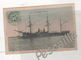 MARINE DE GUERRE FRANCAISE - CP COLORISEE LE DUGAY-TROUIN - CLICHE G. B. P. N° 13 - CIRCULEE EN 1907 - Warships