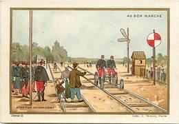 - Chromos-ref-chA233- Au Bon Marché - Paris / - Depart D Une Reconnaissance - Velo Rail - Militaires - Militaria - - Au Bon Marché