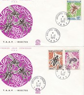 TAAF PREMIER JOUR 1972 40 +41 +42 Insectes - 2 FDC - 03-01-1972 CROZET - FDC
