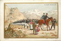 - Chromos-ref-chA231- Au Bon Marché - Paris / Les Bataillons Alpins - Chasseurs Alpins - Regiments - Militaria - - Au Bon Marché