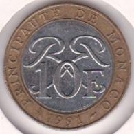MONACO. 10 FRANCS 1991. RAINIER III. Bimétallique - 1960-2001 Nouveaux Francs