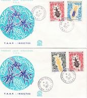 TAAF PREMIER JOUR 1972 49 + 50 Et 49 + 51 Insectes - 2 FDC - 18-12-1972 CROZET - FDC