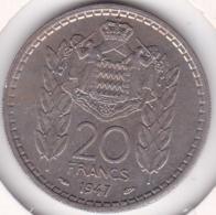 MONACO. 20 FRANCS 1947. LOUIS II. Cupro-nickel - Monaco