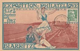 OBLIT. TEMPORAIRE EXPO. PHILATÉLIQUE BIARRITZ 8.9.47 - DE GAULLE à BIARRITZ - Postmark Collection (Covers)