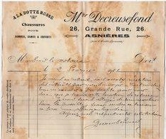 VP15.214 - Facture - ¨ A LA BOTTE RUSSE ¨ Chaussures Pour Hommes,Dames & Enfants M. DECREUSEFOND à ASNIERES - France