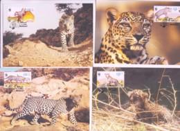 WWF - OMAN -  2004 -  WWF  ARABIAN LEOPARD   SET  OF 4 MAXI CARDS, - Maximum Cards