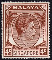 Singapore 1948 P. 17.5x18 4c SG19  - Unmounted Mint - Singapore (...-1959)
