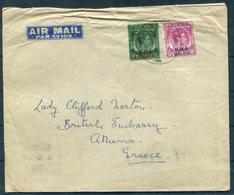 1948 Malaya B.M.A. Airmail Cover - Lady Clifford Norton, British Embassy, Athens Greece. Surrealist Art Dealer - Malaya (British Military Administration)
