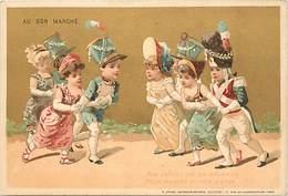 - Chromos-ref-chA226- Au Bon Marché - Paris /chanson (enfant - Nourrice - Pain D Epice )- Danse -lith. Sirven -fond Doré - Au Bon Marché