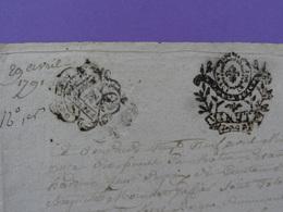 """1791 Généralité D'Amiens (Somme) Papier Timbré Double Timbrage N°206+ Révolutionaire """"Minute"""" - Seals Of Generality"""