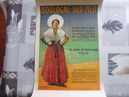 REEDITION  AFFICHE  BOULOGNE  SUR  MER.  EXPOSITION DES INDUSTRIES DE LA PECHE 1914.  60 X 40 Cm. Bon état - Posters