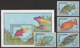 GRENADINES - N°1168/71 + Bloc N°208 ** (1990) Faune Marine - Grenada (1974-...)