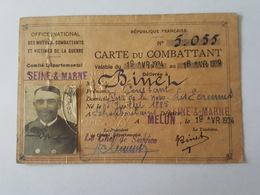 Melun 1934 - Carte Du Combattant De Mr Binel Ou Binet Constant, Poste De La Noue, Les Ecrennes, Né à Échouboulains - Documents