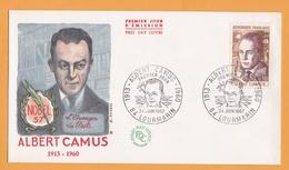 FDC – ALBERT CAMUS 1913-1960 – Nobel 57, L'Etranger, La Peste – Oblitération LOURMARIN 24-06-1967 - FDC