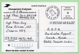 BASE AERIENNE 217 - BRETIGNY AIR - Cachet Manuel + Griffe - Sur CP LA POSTE - - Marcophilie (Lettres)