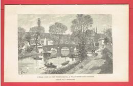 VILLENEUVE SAINT GEORGES L YERES PRES DE SON EMBOUCHURE VAL DE MARNE GRAVURE DEBUT XXe DESSIN DE F. HOFFBAUER - Prints & Engravings