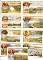 9 Chromo-litho.didactiques COLONIES FRANCAISES - TAÏTI REUNION SOMALIS GUINEE COMORES LAOS MARTINIQUE GUADELOUPE CALEDON - Trade Cards