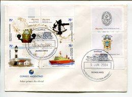HIDROGRAFIA NAVAL, HIDROGRAFIA HYDROGRAPHY. ARGENTINA AÑO 2004 SOBRE PRIMER DIA ENVELOPE FDC TBE -LILHU - Barcos