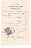 Facture Timbrée 1890 Pharmacie Hottot-Chomet, 21 Rue Du Faubourg Saint-Honoré, Paris - France