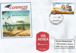 BELLE Lettre De L'ILE ROBINSON CRUSOË, Archipel Juan Fernandez, Chili, Adressée Japon  (RARE) - Rapa Nui (Easter Islands)
