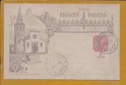 Postcard Stationery Of Church St. John The Baptist, Tomar. Clock. Bells. Cross Of Templars. Porta Manueline. D.Carlos. 2 - Christianisme