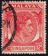 Singapore 1952 12c Perf 17.5 X 18 SG22a - Used Cat £14 - Singapore (1959-...)