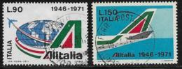 Italy Scott # 1047-8 Used Alitalia Anniv., 1971 - 6. 1946-.. Republic