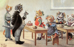 CATS - ART DRAWN BY ARTHUR THIELE - CATS IN A CLASSROOM - REPRO? C390 - Thiele, Arthur