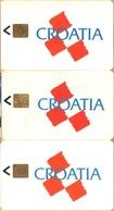 Croatia -TKCH 1A/B/C. Croatia, Logo, 3 Cards Set, Flag, 5000/20,902/50,248ex, 100u, 1991-92-93, Used As Scan - Croatia