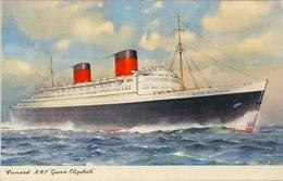 "1938 BARCOS / SHIPS , TARJETA POSTAL NO CIRCULADA , CUNARD - R.M.S. "" QUEEN ELISABETH "" - Schiffe"
