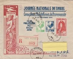 ENV. ILLUSTRÉE AVEC ABONDANCE DE TIMBRES - LES RICEYS 18/1/45 - Unclassified