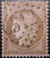 FRANCE Y&T N°58d Cérès 10c Brun Foncé Sur Rose. Fond Ligné. Oblitéré Losange G.C N°6312 Lille (Moulinlille) - 1871-1875 Ceres