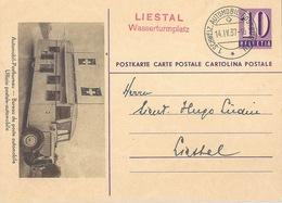 """PK 143-01  """"Automobil-Postbureau""""  (Sonderstempel  LIESTAL Wasserturmplatz)          1937 - Entiers Postaux"""