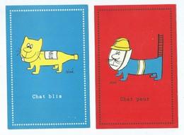 6 Cartes - Illustrateurs Siné - Chat  ,blis , Peur , Scie , Rabia , Thon ,marré  -(  Chats  , Illustrateur  )) - Sine