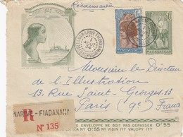 MADAGASCAR - DEVANT DE LETTRE RECOMMANDE TANANARIVE FIADANANA 1.8.1934 POUR PARIS   /1 - Briefe U. Dokumente