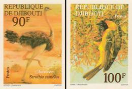 "IMPERF. Djibouti 1977 - Autruche Strutio Camelus; Oiseau ""Tisserin Ploceus Vitellimus"": Michel: 199-200; Yvert 463-464. - Djibouti (1977-...)"