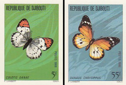 "IMPERF. Djibouti 1980 - Papillon ""Colotis Danae""; ""Danaus Chrysippus"": Michel 268-269; Yvert 517-518. - Djibouti (1977-...)"