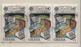 Ghana 1983 MiNr. 983 Jahr Der Kommunikation 3er Streifen Gestempelt Used Sn 835 - Ghana (1957-...)