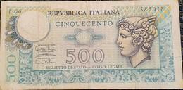Repubblica Italiana - Lire 500 14/2/1974 - [ 2] 1946-… : Républic