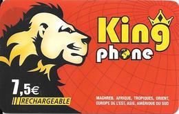 CARTE-PREPAYEE-SPARKLE-7,5€-RECHARGEABLE-KINGPHONE-LION-31/12/2010-R° BRILLANT-V°MOBILE HORIZON-N°Série En Bas Fin-TBE - France