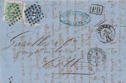 BELGIQUE - LETTRE D'ANVERS POUR CETTE HERAULT - ENTREE BELG. VALENCIENNESA ERQUELINES - 5-7-1874 - Postmark Collection