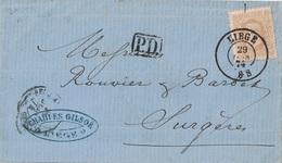 BELGIQUE - LETTRE DE LIEGE POUR SURGERES FRANCE - 29 JUIN 1874 - AFFRANCHISSEMENT A 30c. - Postmark Collection