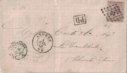 BELGIQUE - LETTRE DE ANVERS POUR LA FRANCE - 1 JUILLET 1868 - AFFRANCHISSEMENT A 30c - OBLITERATION LOSANGE 12 (TARDIF?) - Postmark Collection