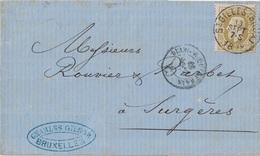 BELGIQUE - LETTRE DE ST GILLES POUR LA FRANCE - 13 SEPTEMBRE 1878 - AFFRANCHISSEMENT A 25c - - Postmark Collection