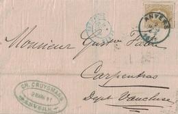 BELGIQUE - LETTRE DE ANVERS POUR LA FRANCE - 2 MARS 1881 - AFFRANCHISSEMENT A 25c - CACHET PARIS ETRANGER - Postmark Collection